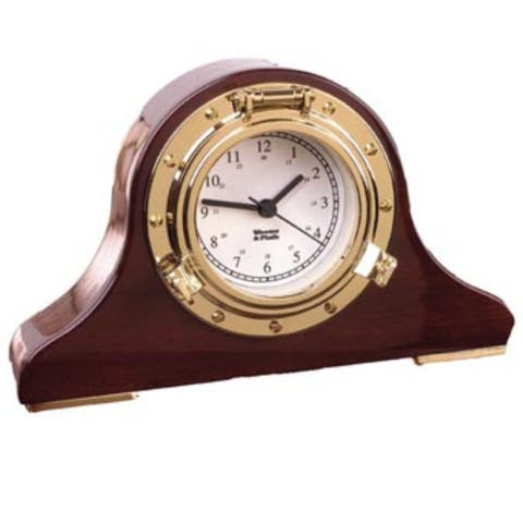 """6"""" Brown and Gold Antique Finish Tambour Desk Clock"""