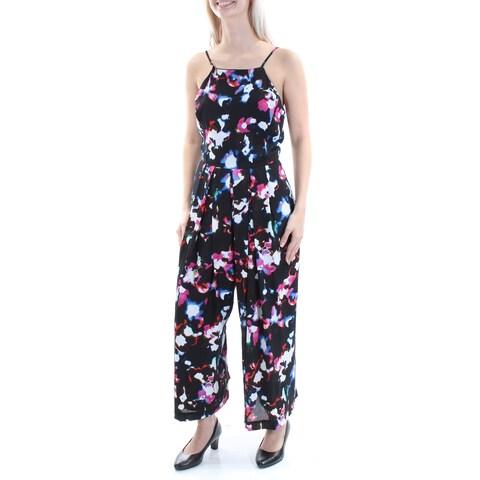Womens Black Floral Square Neck Spaghetti Strap Casual Jumpsuit Size 0