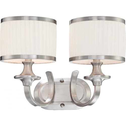 Nuvo Lighting 60/4732 Candice Two Light Bathroom Fixture with Pleated White Shades