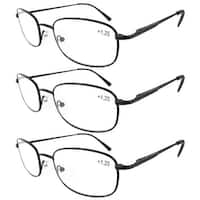 Eyekepper Metal Frame Spring Hinged Arms Reading Glasses 3-Pack+1.5