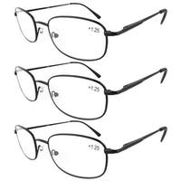 Eyekepper Metal Frame Spring Hinged Arms Reading Glasses 3-Pack+2.0