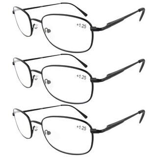 Eyekepper Metal Frame Spring Hinged Arms Reading Glasses 3-Pack+3.5