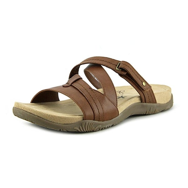 Kim Rogers Haddey Women Open Toe Synthetic Brown Slides Sandal