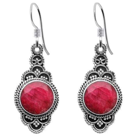 Multi Color Gemstones Sterling Silver Round Dangle Earrings by Orchid Jewelry