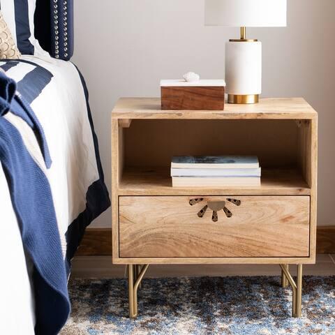 Safavieh Lily Modern 1-shelf 1-drawer Natural Wood Nightstand