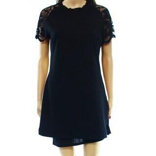 Anne Klein NEW Black Lace Keyhole Women's Size Medium M Top Blouse
