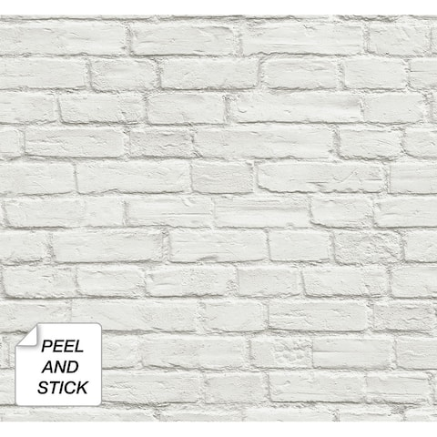 NextWall Vintage White Brick Peel and Stick Removable Wallpaper - 20.5 in. W x 18 ft. L