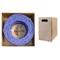 Offex Bulk Cat5e Purple Ethernet Cable, Solid, UTP (Unshielded Twisted Pair), Pullbox, 1000 foot
