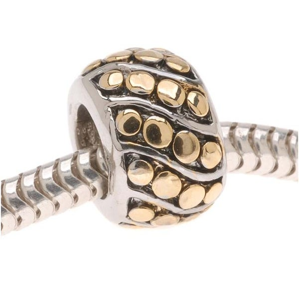 22K Gold Plated Slanted Dots On Silver Tone - European Style Large Hole Bead -