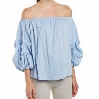 CeCe Blue Womens Medium M Pinstriped Puff-Sleeve Off Shoulder Blouse