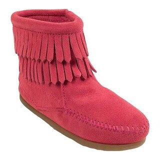 Minnetonka Children's Side Zip Double Fringe Hot Pink Suede