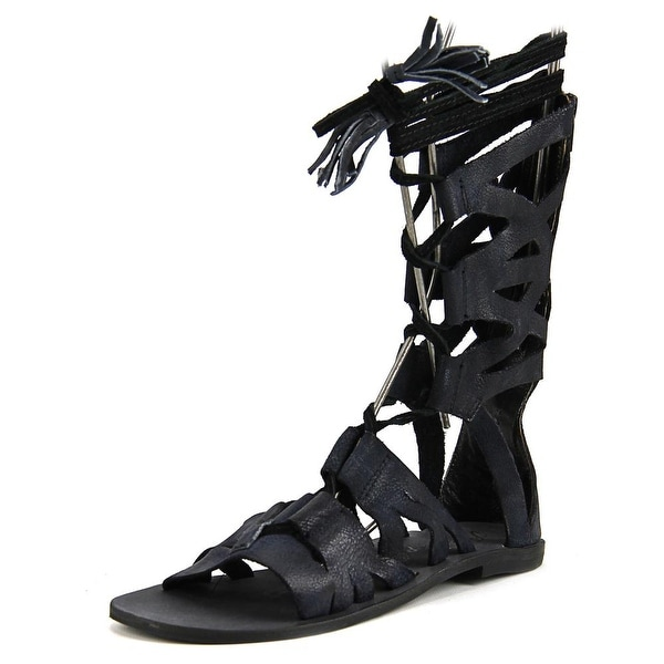 Free People Mesa Verde Women Open Toe Leather Black Gladiator Sandal