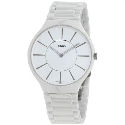 Rado Unisex R27957112 'True Thinline' White Ceramic Watch