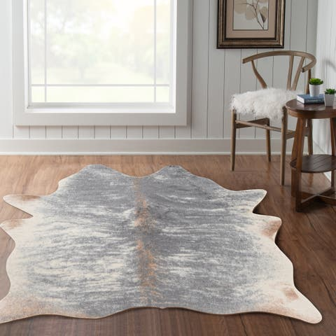 """Tufted and Printed Faux Cow Hide Area Rug - 5' x 6'6"""""""