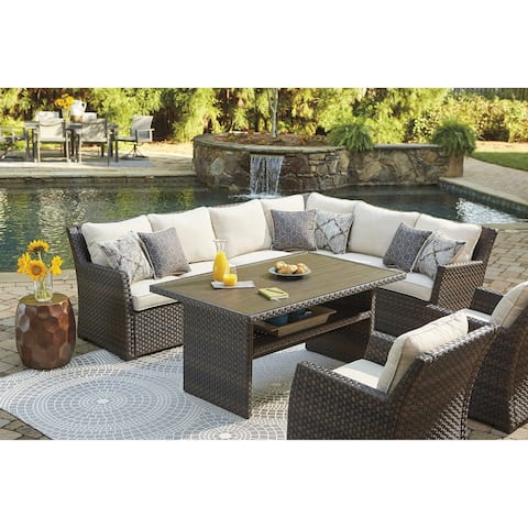 Easy Isle Dark Brown/Beige Sectional and Lounge Chair - Set of 3 - N/A