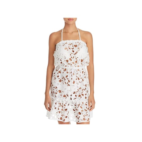 Milly Womens Becca Strapless Cutout Dress Swim Cover-Up