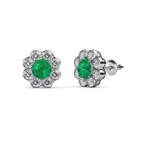 TriJewels Gemstone and Diamond Floral Womens Halo Stud Earrings Gold