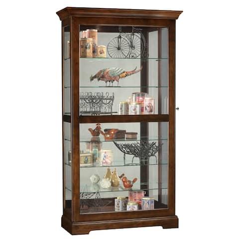 Howard Miller Tyler Modern, Sleek & Chic, Medium Brown Solid Wood, Large, Tall, 7-Shelf Living Room Curio Cabinet