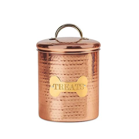 King Charles Copper Dog Medium Canister for Pet Food 7 Inch - Copper Gold - Cooper / Gold