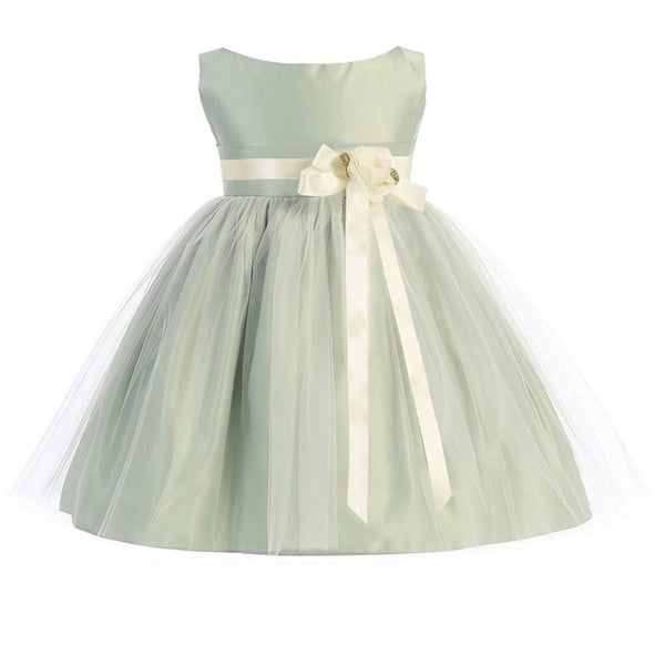 Sweet Kids Baby Girls Sage Ivory Floral Accent Flower Girl Dress 6-24M