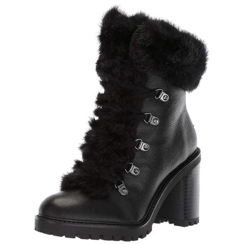 Guess Womens Galway Leather Round Toe Ankle Combat Boots