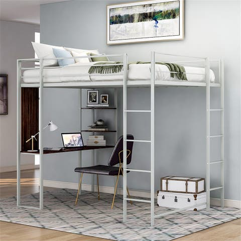 Twin Metal Loft Bed with 2 Shelves and one Desk ,Sliver