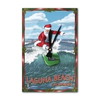 Laguna Beach, CA - Santa Surfing - LP Artwork (Acrylic Wall Clock) - acrylic wall clock