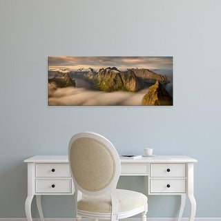 Easy Art Prints Panoramic Image 'Helvete summit, mountains ridges, Kjerkfjorden, Lofoten, Nordland, Norway' Canvas Art
