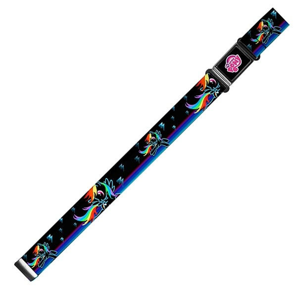 My Little Pony Logo Full Color Black Pink Rainbow Dash Pose Lightning Magnetic Web Belt - S