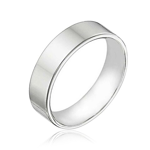Bling Jewelry Sterling Silver Flat Wedding Band Ring Unisex 6mm