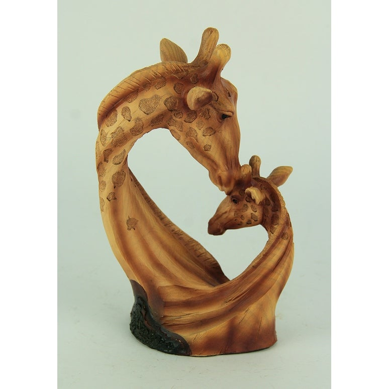 Faux Carved Mother And Baby Giraffe Head Wood Look Statue Overstock 24032003