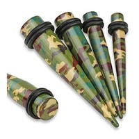 Green/Brown Camouflage Printed Acrylic Taper with O-Rings (Sold Individually)