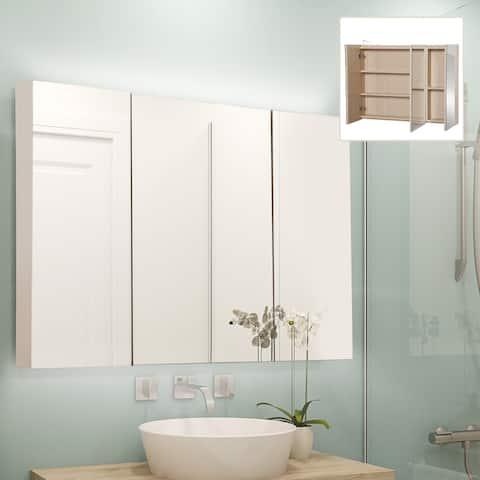 """kleankin 36"""" x 24"""" Triple Door LED Bathroom Mirror Medicine Cabinet - White Oak"""