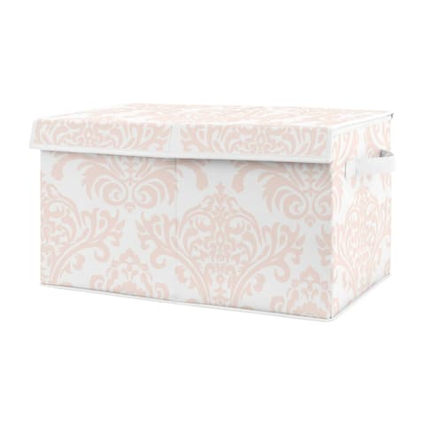 Blush Pink and White Damask Girl Kids Fabric Toy Bin Storage - for the Amelia Collection