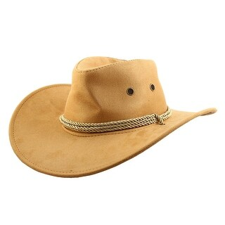 Unisex Faux Suede Adjustable Neck Strap Western Style Sunhat Cowboy Hat Yellow