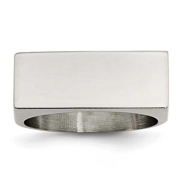 Chisel Stainless Steel Polished Signet Ring