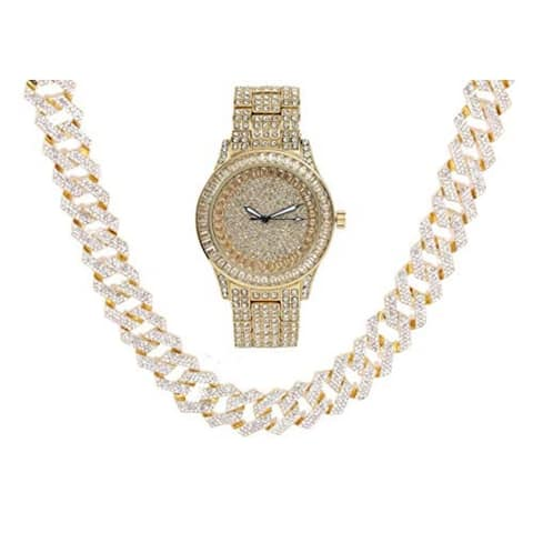 Gold Bling'ed Out Mens Watch w/Zig Zag Bling'ed Out New Cuban Z Links w/3 Row Diamonds on Each Side Jewelry set - ST102GSeries