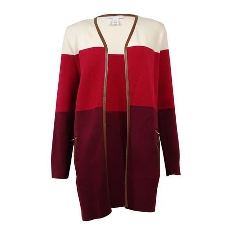 Charter Club Women's Pleather Trim Colorblocked Cardigan - Malbec Combo - S