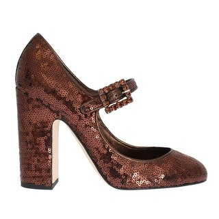 Dolce & Gabbana Bronze Leather Sequined Mary Janes Shoes