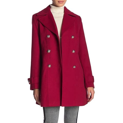 Tommy Hilfiger Womens Small Double Breasted Wool Coat