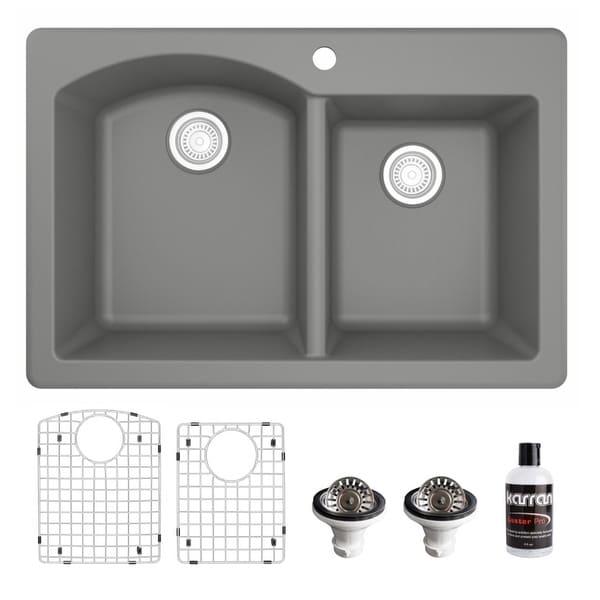 Karran Drop-In Quartz 33 in. 1-Hole 60/40 Double Bowl Kitchen Sink Kit. Opens flyout.