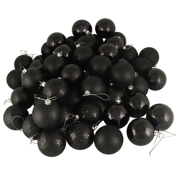 "96ct Jet Black Shatterproof 4-Finish Christmas Ball Ornaments 1.5"" (40mm)"
