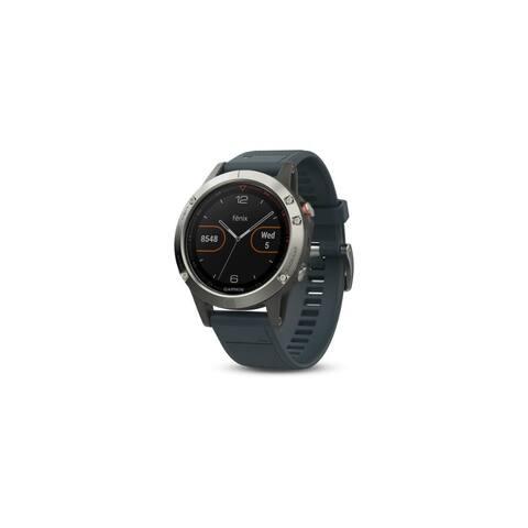 Refurbished Garmin Fenix 5 Multisport GPS Watch (Silver With Granite Blue Band)