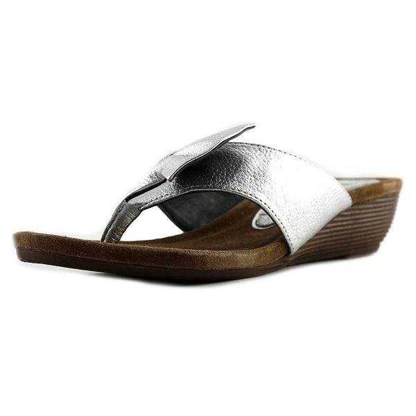 J. Renee Ayala Women Open Toe Leather Wedge Sandal