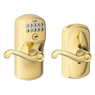 Schlage FE595 PLY FLA 505 Plymouth Keypad Entry with Flex-Lock and Flair Style Levers, Lifetime Bright Brass