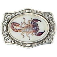 Silver Tone Belt Buckle with Scorpion Detail