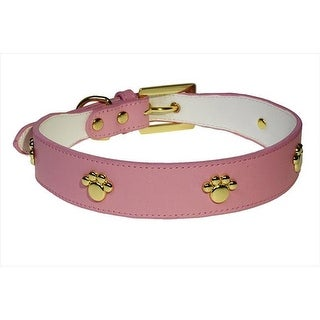 Leather Dog Collar, Pink - Medium
