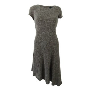 Ellen Tracy Women's Petite Marled Asymmetrical-Hem Sweater Dress