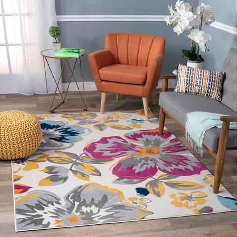 Modern Floral Design Area Rug