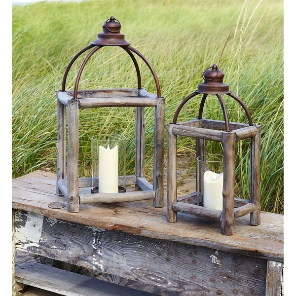 """Set of 2 Rustic Open-Designed Candle Lanterns 26"""" - N/A"""